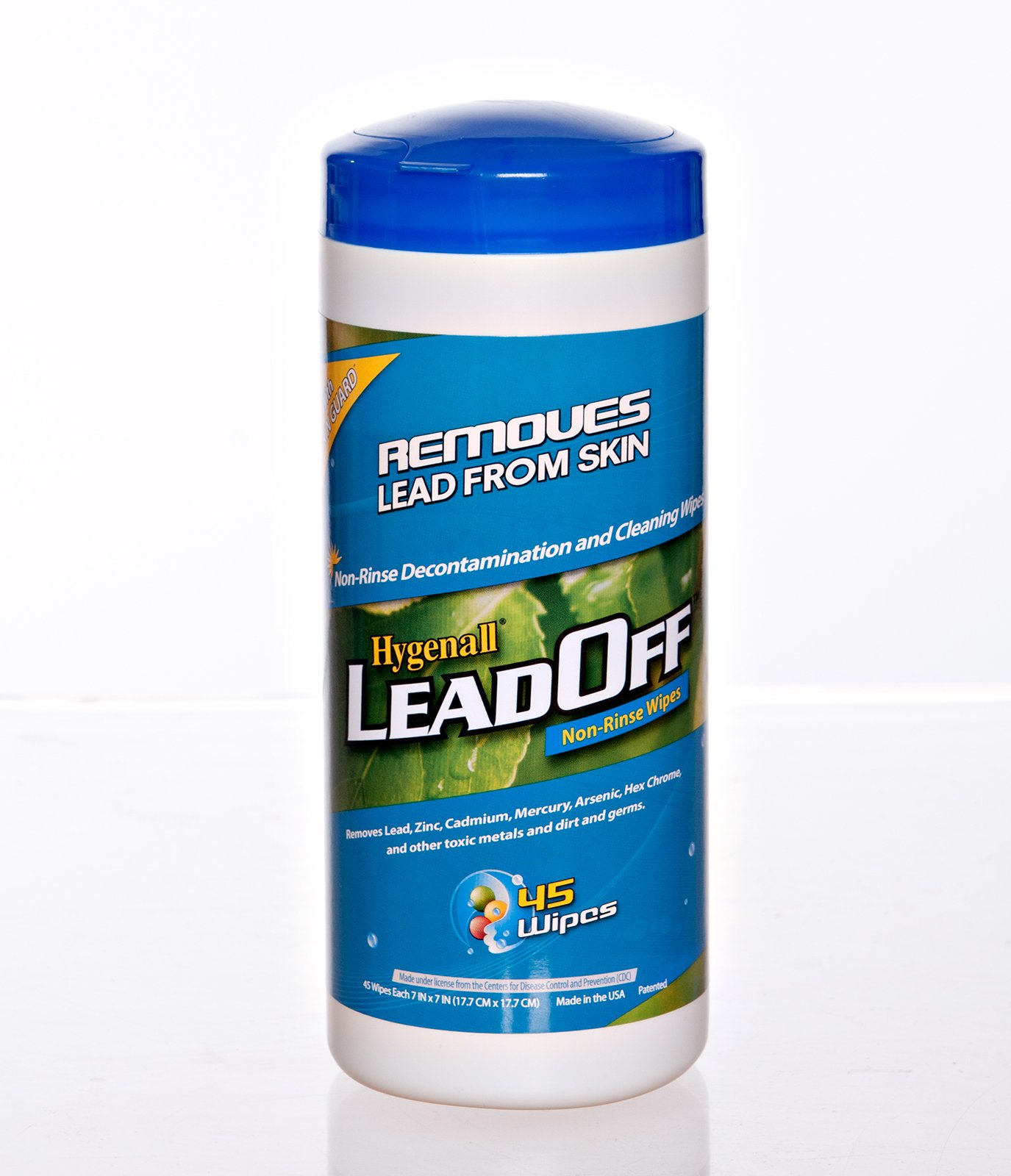 Hygenall LeadOff Lead Decontamination Non-Rinse Disposable Hand and Surface Wipes - 45 Wipe Canister - Australian Tactical Precision