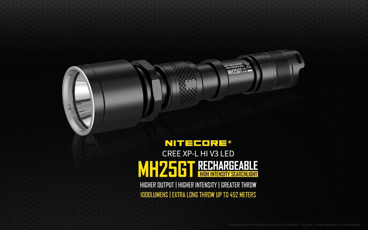 Nitecore MH25GT Hunting Torch Flashlight Kit, Rechargeable, 1000 Lumens, 452m Range - Australian Tactical Precision