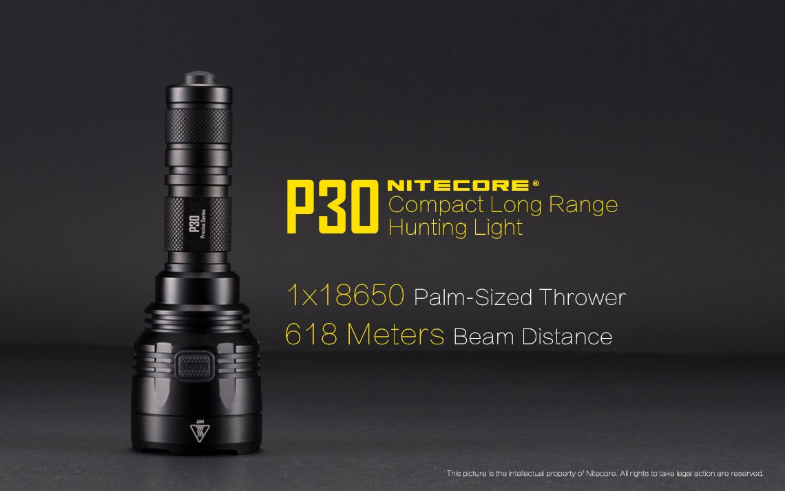 Nitecore P30 Hunting Torch Flashlight Kit, Rechargeable, 1000 Lumens, 618m Range - Australian Tactical Precision