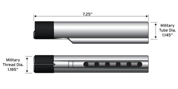 ATI 6 Position Adjustable Carbine Length Commercial and Mil-Spec Buffer Tube Assembly - Australian Tactical Precision