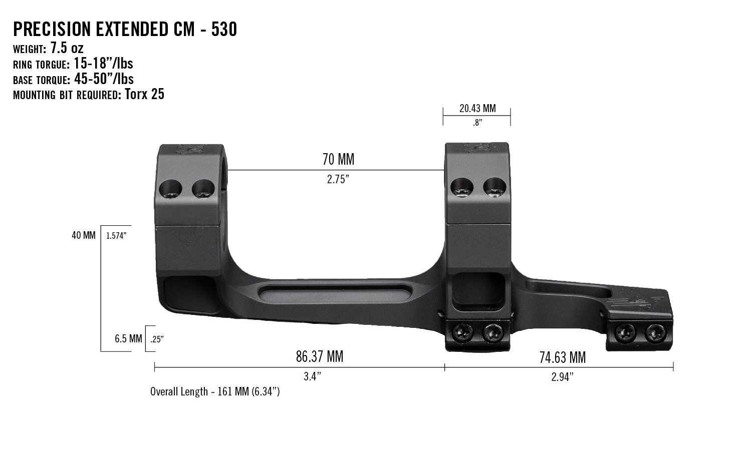 Vortex Precision Cantilever Extended One Piece Scope Mount / Rings - Australian Tactical Precision