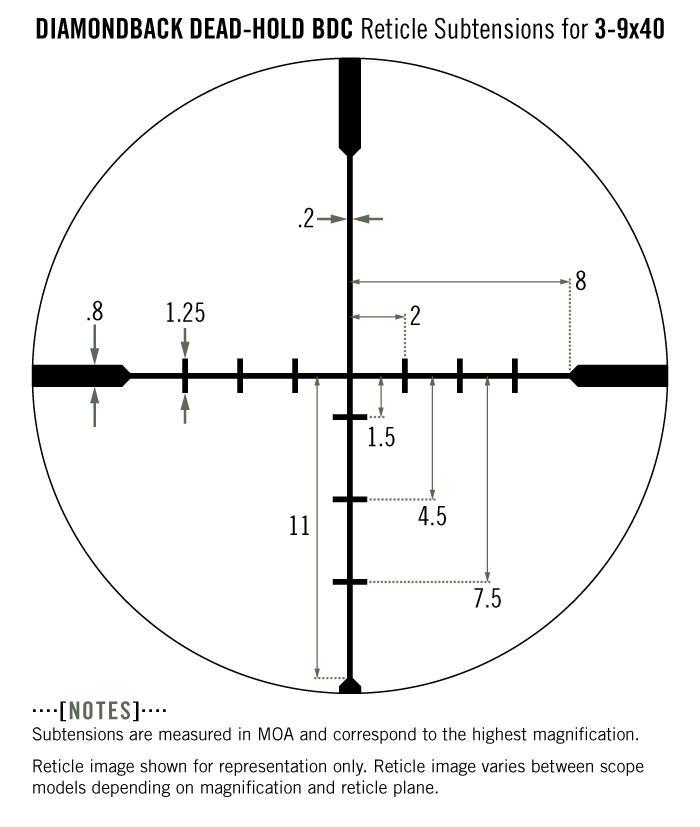 Vortex Diamondback 3-9x40 Rifle Scope Dead Hold BDC Reticle DBK-01-BDC - Australian Tactical Precision